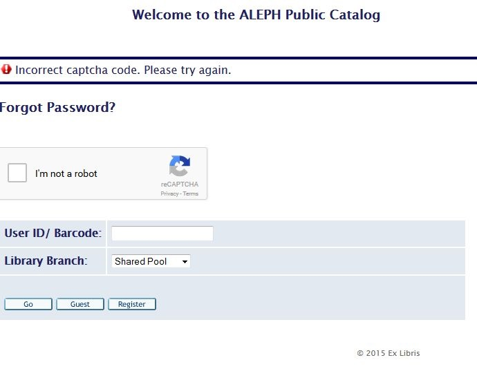 Using CAPTCHA in Aleph Web OPAC for Resetting Forgotten Patron