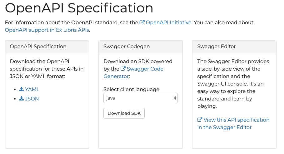 OpenAPI Support in Alma APIs - Ex Libris Developer Network